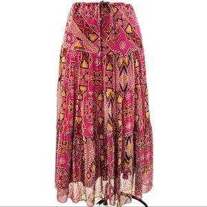 DVF Diane Von Furstenburg Silk Boho Print Skirt